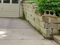 a failing retaining wall around a driveway in Oklahoma City