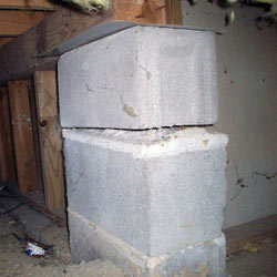 Collapsing crawl space support pillars Cushing