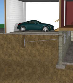 Graphic depiction of a street creep repair in a Tecumseh home