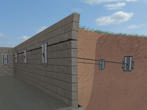 A graphic illustration of a foundation wall system installed in Shawnee